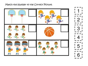 Basketball Sports themed Match the Number preschool educational learning game.