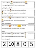 Basketball Sports themed Math Word Problems preschool learning activity.
