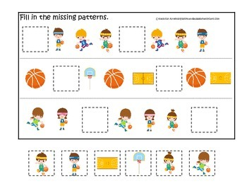 Basketball Sports themed Missing Pattern preschool educational learning game.