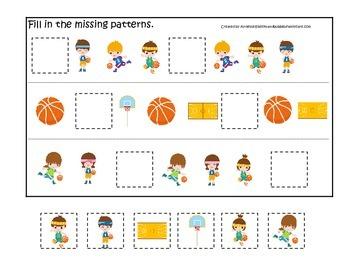Basketball Sports themed Missing Pattern preschool educati