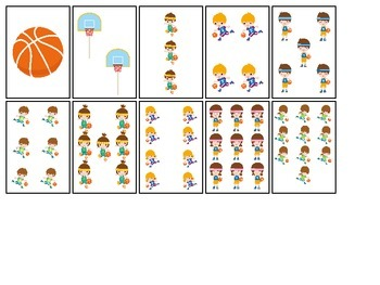 Basketball Sports themed Number Matching Cards preschool a