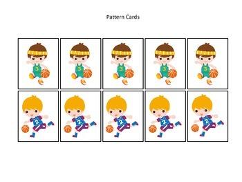 Basketball Sports themed Pattern Cards #1 preschool educational learning gam
