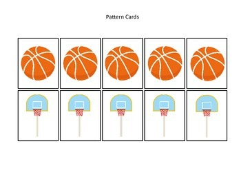 Basketball Sports themed Pattern Cards #2 preschool educational learning gam