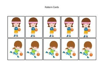 Basketball Sports themed Pattern Cards #3 preschool educational learning gam
