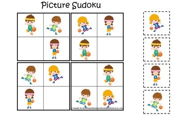 Basketball Sports themed Picture Sudoku preschool educational learning activity.