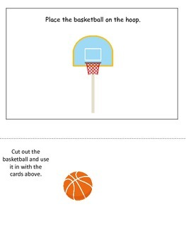 Basketball Sports themed Positional Cards preschool educational learning game.