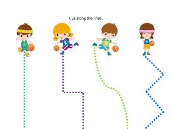 Basketball Sports themed Scissor Cutting Practice preschool activity.