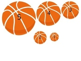 Basketball Sports themed Size Sequence preschool educational learning game.