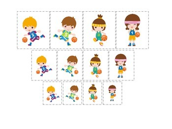 Basketball Sports themed Size Sorting preschool educational learning game.
