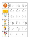 Basketball Sports themed Trace the Letter preschool writing worksheet.
