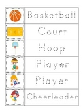Basketball Sports themed Trace the Word preschool educational writing worksheet.