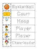 Basketball Sports themed Trace the Word preschool educational writing worksheet.