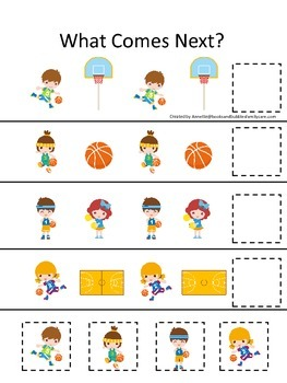 Basketball Sports themed What Comes Next preschool educational learning game.