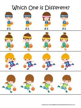 Basketball Sports themed Which One is Different preschool educational activity.
