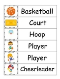 Basketball Sports themed Word Wall theme for preschool circle time. Weekly theme