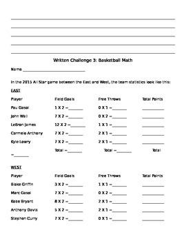 Basketball Stations Interdisciplinary Worksheet