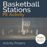Basketball Stations Posters with Diagrams and Descriptions, a PE Resource