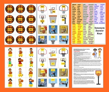 Basketball Literacy Centers:  Synonyms: 60 Pairs - 120 Word - 3 Ways to Play