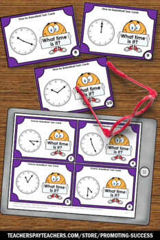 Telling Time to the Minute Task Cards, Basketball Theme