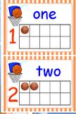 Basketball Ten Frames (0-20) & Basketball School Day Count Poster