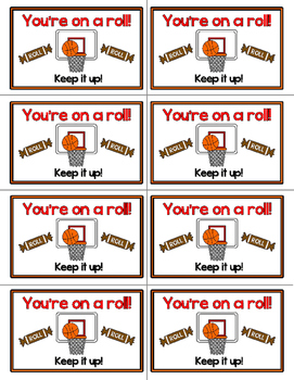 Basketball Testing Treat Labels: Full Color and Ink Saving Options
