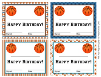 Basketball Theme Birthday Certificates