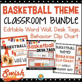 Basketball Theme Classroom BUNDLE Word Wall, Behavior Chart, Desk Tags