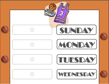 Basketball Theme Weekday Chart! Basketball Bulletin Board! Days of the Week!