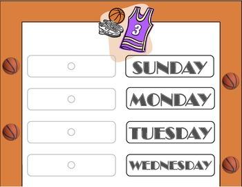 Basketball Theme Weekday Chart! Basketball Bulletin Board!
