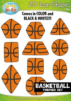 Basketball Themed 2D Icon Shapes Clipart Set — Includes 20