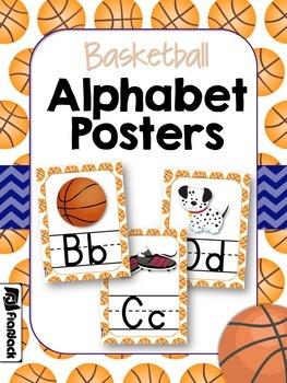 Basketball Themed Alphabet Letter Posters