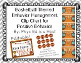 Basketball Themed Behavior Management Clip Chart for Positive Behavior -EDITABLE
