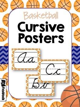Basketball Themed CURSIVE Alphabet Letter Posters