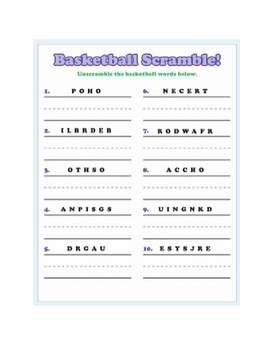 Basketball Word Fun and Writing Prompts