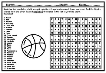Basketball Word Search Puzzle Worksheet, Sports Physical ...