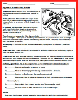 Basketball Worksheets (Reading and Reflection Questions)