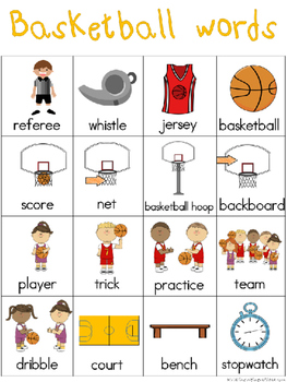 Basketball Writing Center Tools: Sports Words