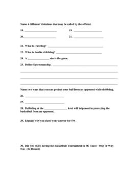 Basketball Written Quiz