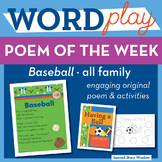 Baseball -all Word Family Poem of the Week - Fluency Poem
