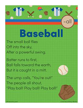 Baseball -all Word Family Poem of the Week - Fluency Poem