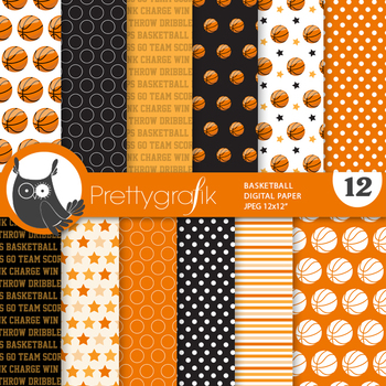 Basketball papers, commercial use, scrapbook papers - PS870