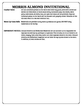 Basketball tournament rules and waiver