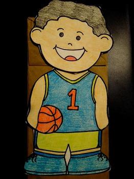 Basketball player paper bag puppet
