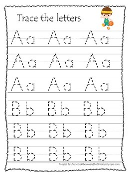 Basketball themed A-Z tracing preschool educational worksheets. Daycare Alphabet