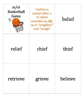Basketball-themed card game to review ie/ei