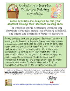 Baskets and Bunnies Sentence Building Activities
