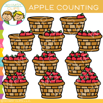 Baskets of Apples Counting Clip Art