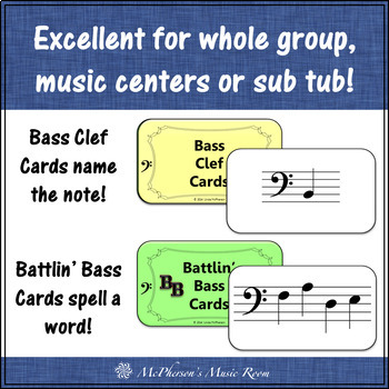 Bass Clef Battlin' Basses {Interactive Music Game for reviewing note names}