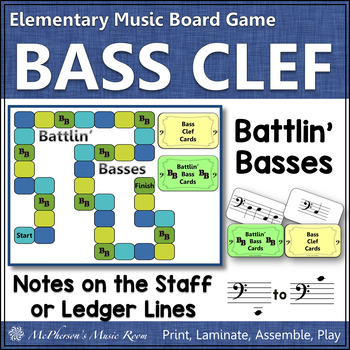 Bass Clef Battlin' Basses {music board game for reviewing note names}