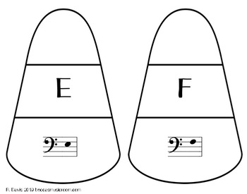 Bass Clef Candy Corn Matching Game for Fall Music Centers